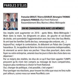 Paroles d'élus. Metz Métropole Magazine mai-juin 2016