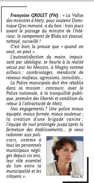 Propositionde Françoise Grolet pour Magny. Le Républicain Lorrain 12 février 2014