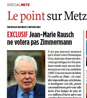 Jean-Marie Rausch ne votera pas Zimmermann. Le Point février 2014