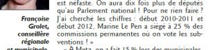 Version publiée par le Républicain Lorrain le lundi 26 mai 2014 et déformant les propos de Françoise Grolet