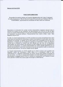 Motion du 24 juin 2014 d'associaitions contre le FN, présenté lors du Conseil du CCAS