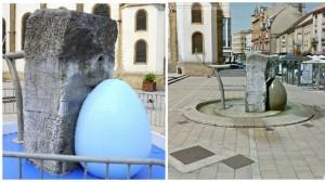 La fontaine repeinte (à gauche) et avant le coup de peinture (à droite). Montage. AFP /Google Street View. Le Figaro