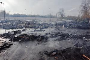 Bidonville Avenue de Blida à Metz incendié par les demandeurs d'asile. 18 novembre 2014