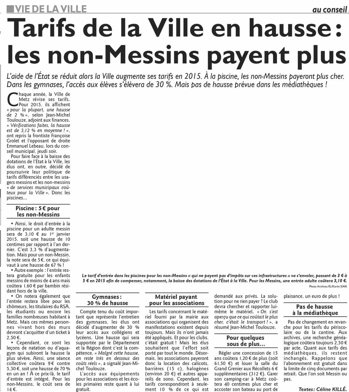 Fran oise grolet tarifs de la ville les non messins for Tarif chauffage urbain metz