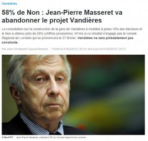 58% de Non : Jean-Pierre Masseret va abandonner le projet Vandières