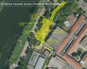 Plan du nouvel accès à la manufacture an détruisant une partie du camping