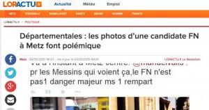 Départementales : les photos d'une candidate FN à Metz font polémique