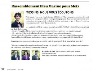 Expression des élus du groupe Rassemblement Bleu Marine Pour Metz dans le magazine Metz Mag (Vivre à Metz) d'avril 2015