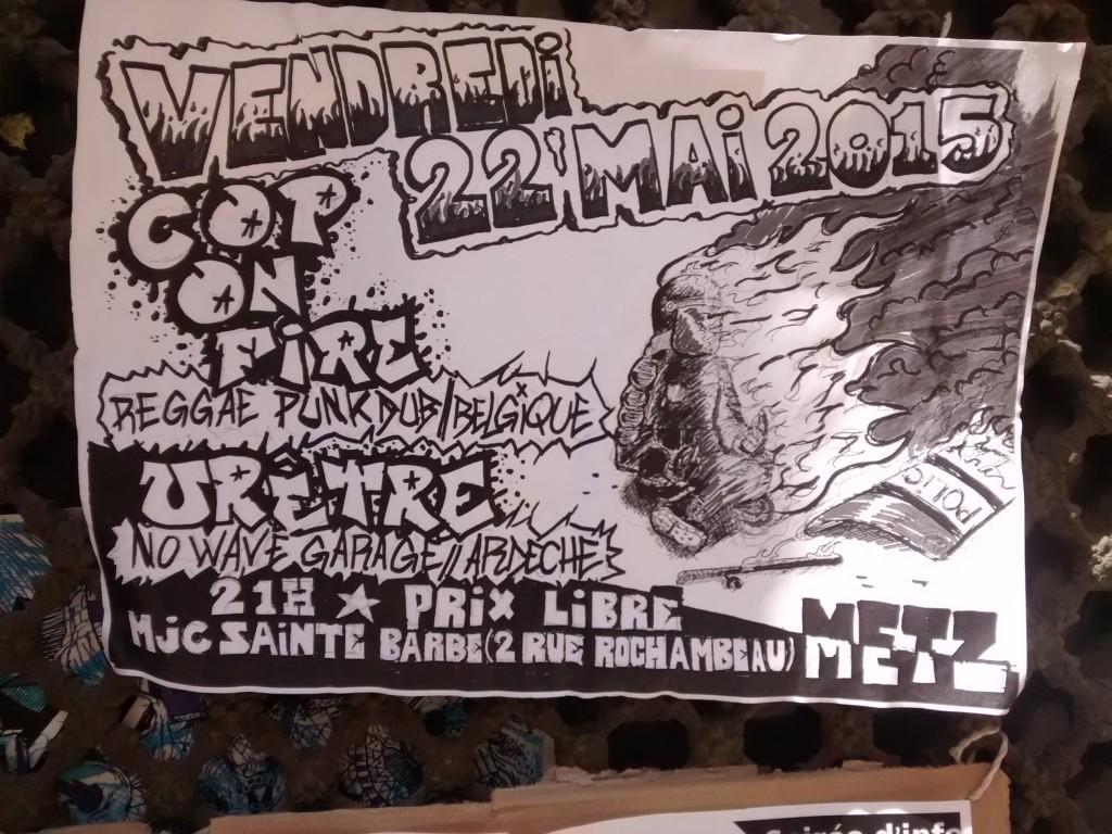 """Concert """"Cop On fire"""" (Flic en feu) à la MJC Sainte Barbe le 22 mai 2015"""