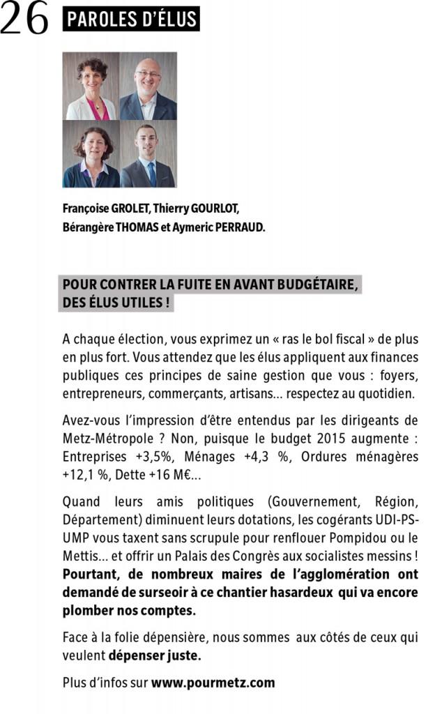 Expression des élus du groupe Rassemblement Bleu Marine Pour Metz dans le magazine Metz Métropole Mag (CA2M) de mai 2015