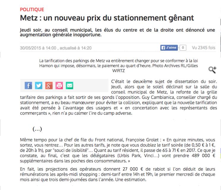 Le Républicain Lorrain, 30/05/15, T. Fedrigo