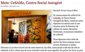 CESAME, squat situé 22 en Jurue à Metz