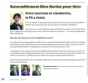 Expression des élus du groupe Rassemblement Bleu Marine Pour Metz dans le magazine Metz Mag (Vivre à Metz) de septembre 2015