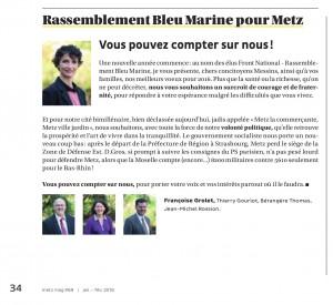 Expression des élus du groupe Rassemblement Bleu Marine Pour Metz dans le magazine Metz Mag (Vivre à Metz) de janvier 2016