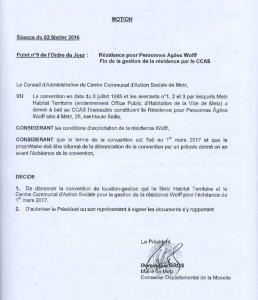 Délibération du Conseil d'administration du CCAS de Metz (02/02/2016)