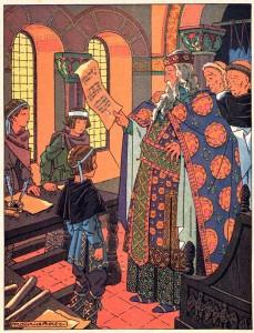 Charlemagne inspecte les écoles, par l'illustrateur champenois Maurice Berty