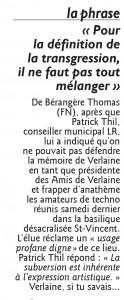 LE mélange des genres à St Vicent, Le Républicain Lorrain 2 avril 2016