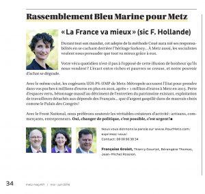 Expression des élus du groupe Rassemblement Bleu Marine Pour Metz dans le magazine Metz Mag (Vivre à Metz) de mai-juinl 2016