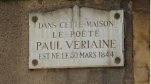 Plaque signalant la maison natale de Paul Verlaine, 2 rue de la Pierre hardie à Metz.