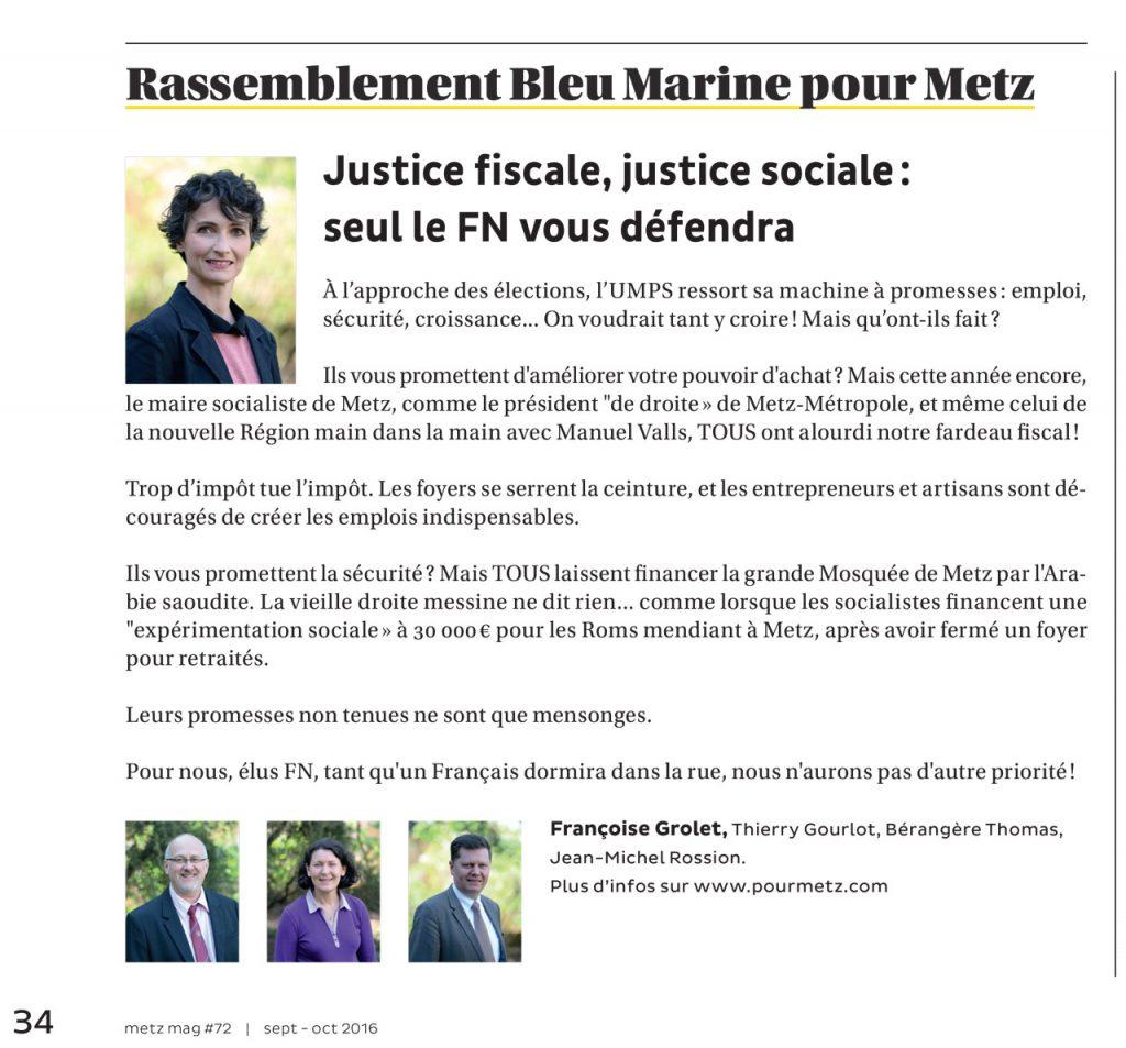 Expression des élus du groupe Rassemblement Bleu Marine Pour Metz dans le magazine Metz Mag (Vivre à Metz) de septembre-octobre 2016
