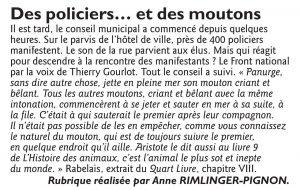 """Le Républicain Lorrain du 28 octobre 2016 : """"Des policiers... et des moutons"""""""