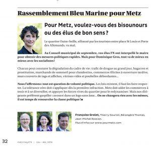 Expression des élus du groupe Rassemblement Bleu Marine Pour Metz dans le magazine Metz Mag (Vivre à Metz) de novembre-décembre 2016