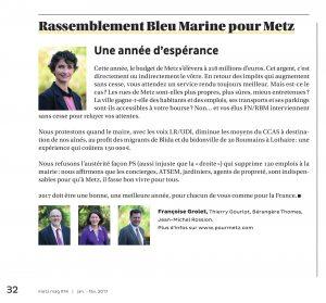 Expression des élus du groupe Rassemblement Bleu Marine Pour Metz dans le magazine Metz Mag (Vivre à Metz) de janvier-février 2017