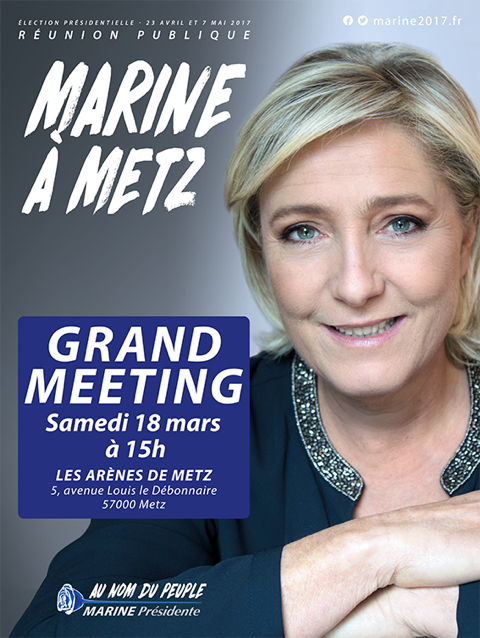 Marine Le Pen Meeting à Metz 18 mars 2017