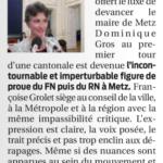 """La Semaine : F.Grolet, """"incontournable figure de proue du RN à Metz"""""""