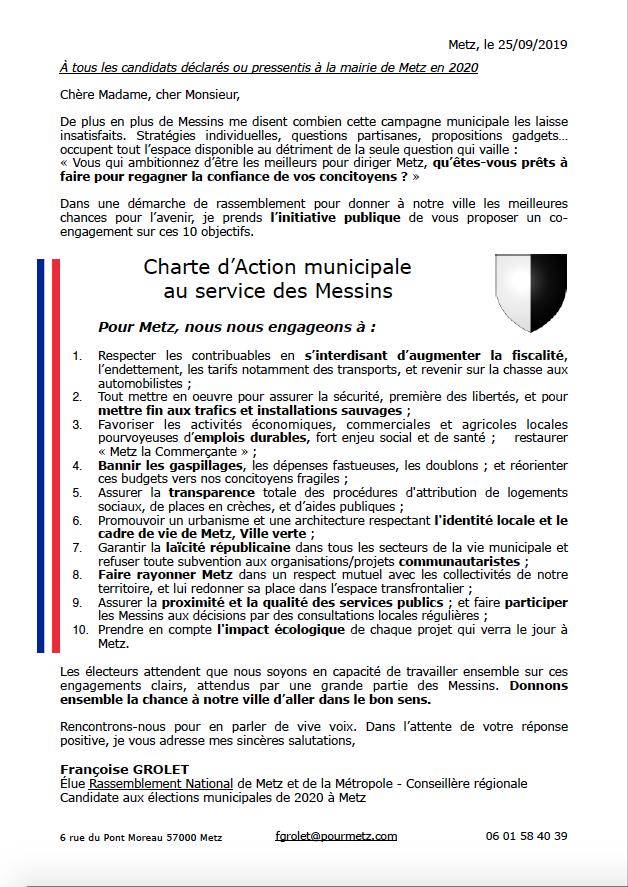 Courrier + charte d'Action municipale au service des Messins, proposée par Françoise GROLET (RN) aux candidats municipales 2020 Metz