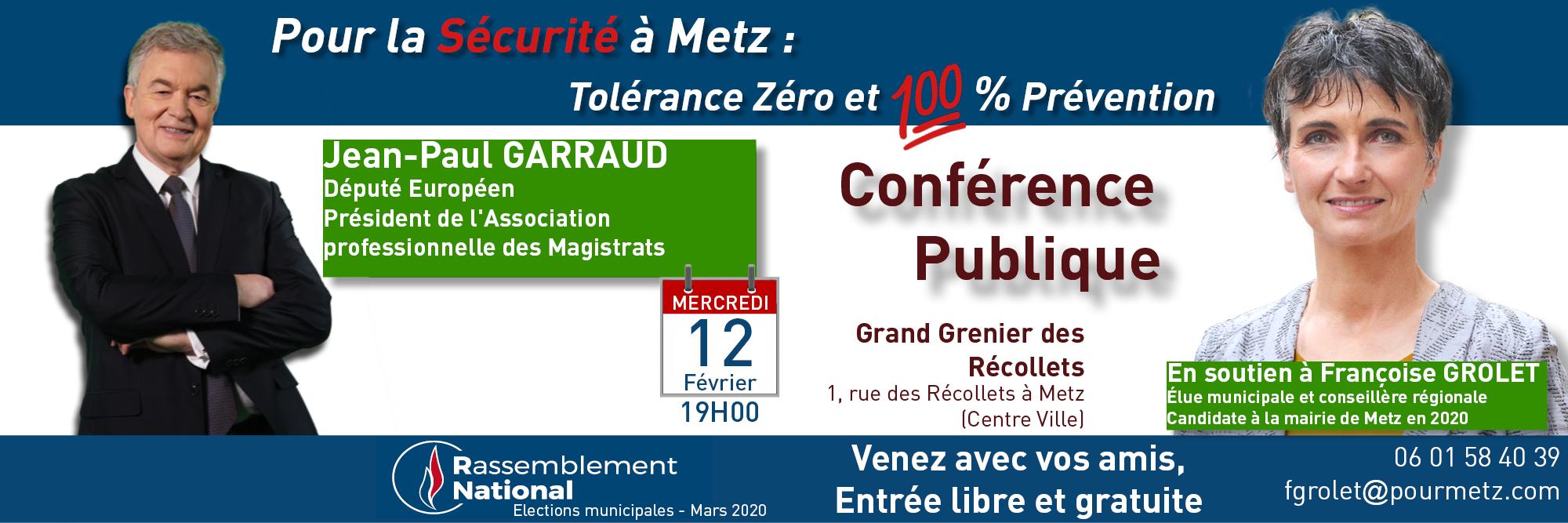 Conference Publique de Jean-Paul GARRAUD à Metz le 12 Février 2020