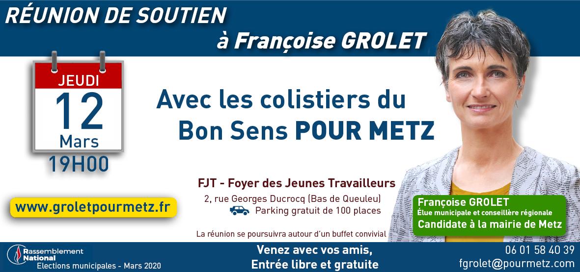 Réunion de Soutien Publique à Françoise GROLET à Metz le 12 Mars 2020