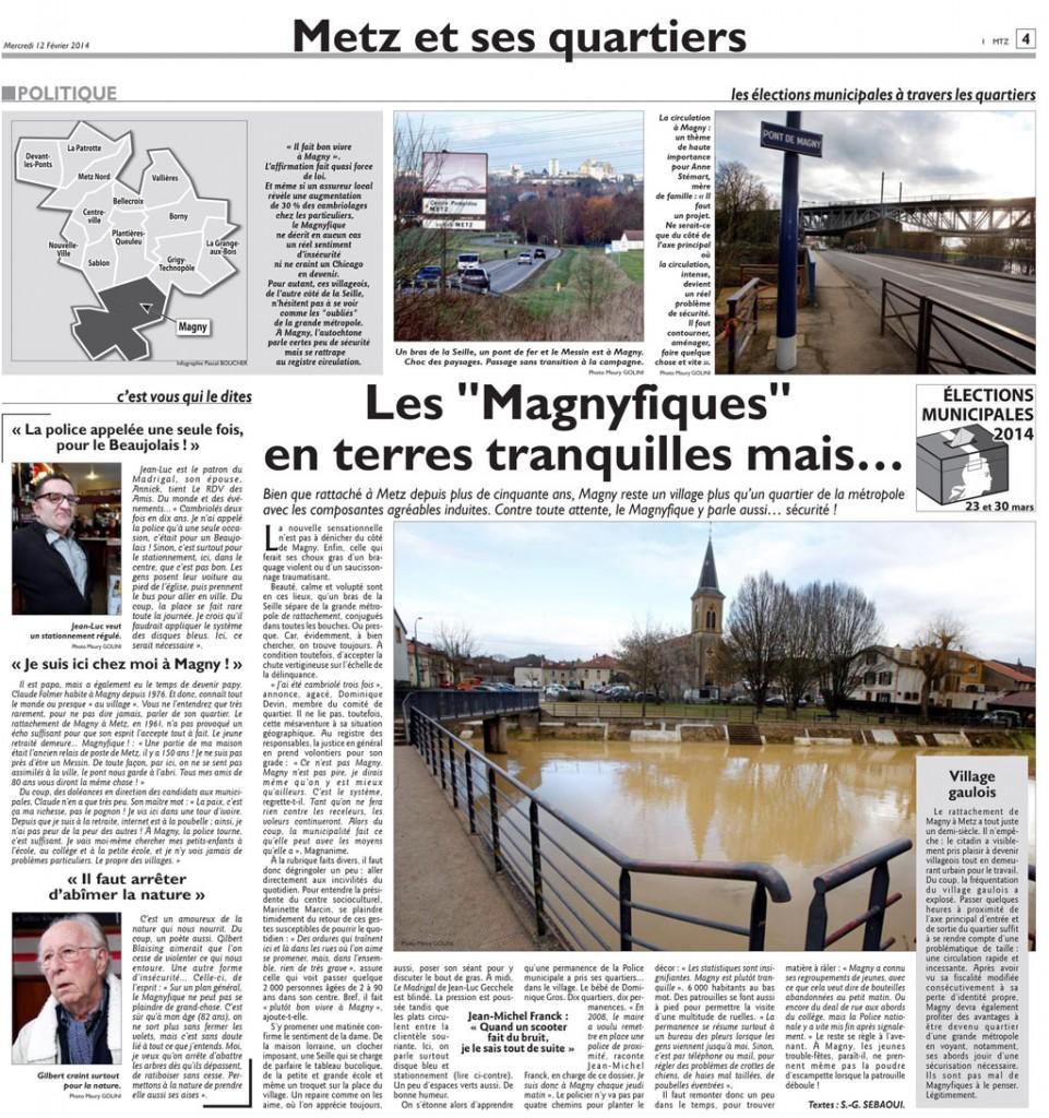 """Les """"Magnyfiques"""" en terre tranquille mais ...Républicain Lorrain 12 février 2014"""