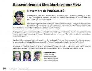 """Tribune Metz Mag Novembre 2014 - """"Novembre de l'inégalité"""""""