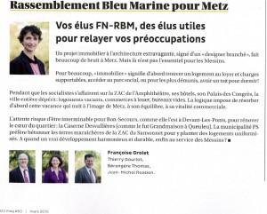 Expression des élus du groupe Rassemblement Bleu Marine Pour Metz dans le magazine Metz Mag (Vivre à Metz) de mars2015