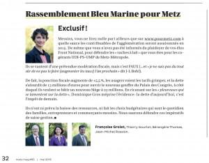Expression des élus du groupe Rassemblement Bleu Marine Pour Metz dans le magazine Metz Mag (Vivre à Metz) de mai 2015
