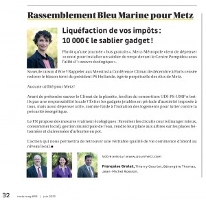Expression des élus du groupe Rassemblement Bleu Marine Pour Metz dans le magazine Metz Mag (Vivre à Metz) de juin 2015