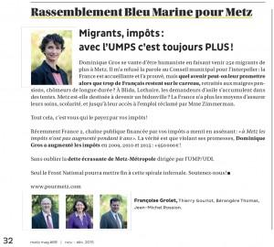 Expression des élus du groupe Rassemblement Bleu Marine Pour Metz dans le magazine Metz Mag (Vivre à Metz) de novembre 2015