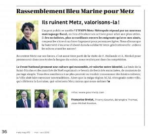 Expression des élus du groupe Rassemblement Bleu Marine Pour Metz dans le magazine Metz Mag (Vivre à Metz) de mars-avril 2016