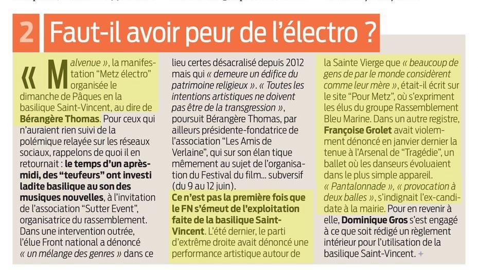 Dominique Gros établira un règlement intérieur suite au concert électro dans la Basilique st Vincent, La Semaine du 7 avril 2016