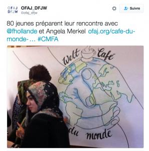 """""""Café du monde"""" avec des migrants, en présence de F. Hollande et A. Merkel"""