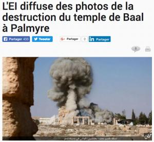"""Exemple du """"jihad culturel"""" mené par l'Etat islamique : la destruction du temple de Baal à Palmyre."""