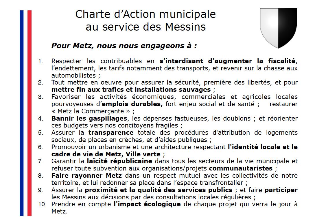 Courrier + Charte d'Action municipale au service des Messins proposée par Françoise GROLET (RN) aux candidats municipales 2020 Metz